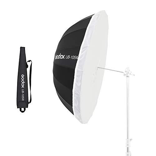 Godox UB-105W 41in 105cm Parabolic Black White Reflective Umbrella Studio Light Umbrella with Black Silver Diffuser Cover Cloth (UB-105W)
