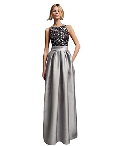 GL SUIT Frauen-Backless Spitze-Kleid-Abschlussball Brautjungfer Satin-Kleid ärmellos Reißverschluss Abend-Cocktail-Lange Maxi Partei-Kleider Brautkleid,Grau,EU:52/UK:26