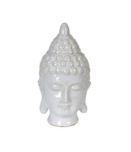 Sagebrook Home 10900 Ceramic Buddha Head, White Ceramic, 4.75 x 4.5 x 9.25 Inches