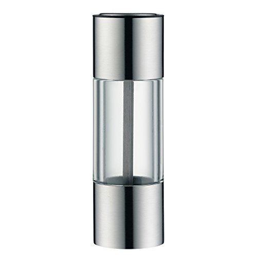 WMF Mini Gewürzmühle klein 11 cm unbefüllt, Cromargan Edelstahl, Glas, Keramikmahlwerk, Salzmühle, Pfeffermühle klein
