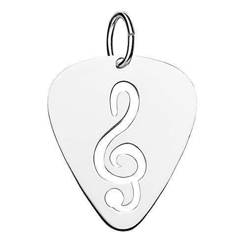 Iyé Biyé Jewels - Colgante Púa de Guitarra y Clave de Sol Mujer Niña Plata de Ley 925M