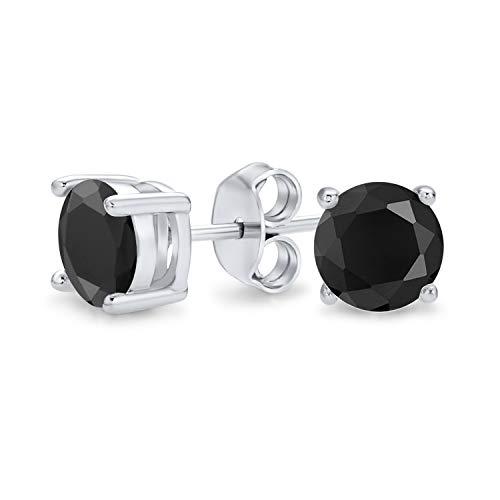1.50 Ct Black Round Solitario Taglio Brillante Taglio CZ Orecchini Per Donna Uomo 925 Sterling Argento