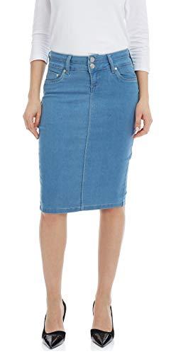 ESTEEZ Womens Straight Jean Skirt Knee Length Beverly Hills Light Blue 16