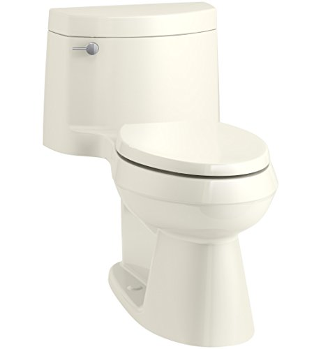 KOHLER K-3619-96 Cimarron Comfort Height One-Piece Elongated 1.28 GPF Toilet with AquaPiston Flush Technology, Concealed Trapway, and Left-Hand Trip Lever, Biscuit