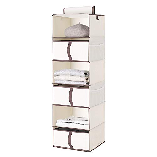 "StorageWorks 6-Shelf Hanging Closet Shelves, Hanging Closet Organizer with 3 Drawers, Canvas, Linen White, 13.6""W x 12.2""D x 42.5""H"