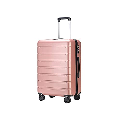 QIXIAOCYB Maleta portátil/maleta con ruedas mate a rayas horizontales maleta de embarque maleta de 24 pulgadas/código de materia: LWH-43 (color: oro rosa) (color: oro rosa)