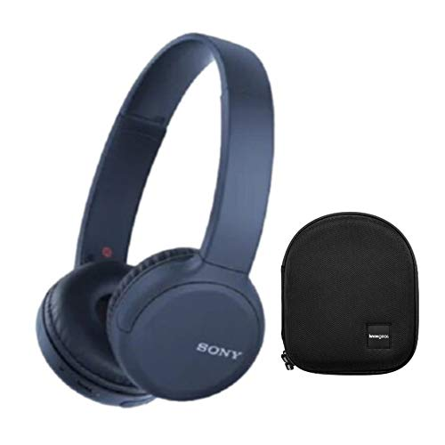 Sony WH-CH510 Wireless On-Ear Headphones (Blue) with Knox Gear Protective Headphone Case Bundle (2 Items)