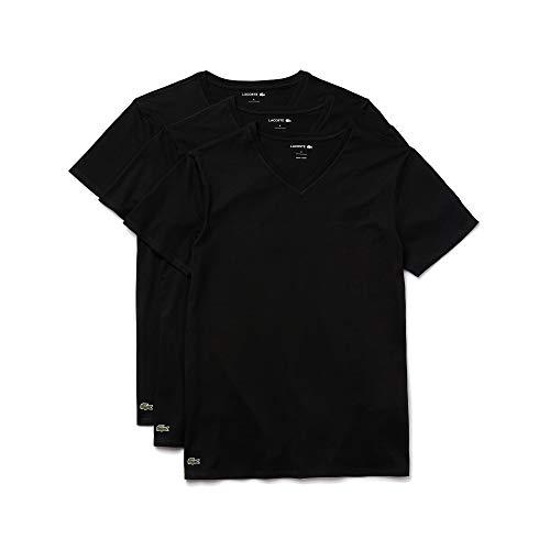 Lacoste Pack de 3 Camisetas para Hombre, 100% algodón, Ajuste Regular, Cuello en V, Negro, Small
