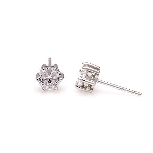 Paialco Pendientes solitarios de plata de ley 925 con circonita cúbica brillante, 6 mm, diamante de 1,5 quilates.