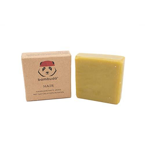 bambudo® Shampoo Bar, Haarseife handgerührt aus natürlichen Zutaten, Shampoo ohne Plastik