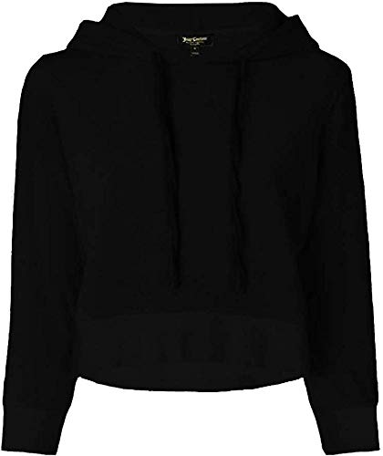 Juicy Couture Women's Swarovski Velour Shrunken Hooded Pullover (Pitch Black, X-Small)