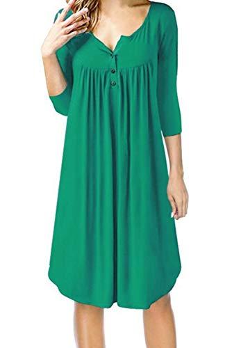 VEVESMUNDO dames zomer blousekjurk tuniek jurk overhemdblouse jurk bovenstuk 3/4 arm t-shirt basic tops jurk maat 32 34 36 38 40 42 44 46 48 50 52