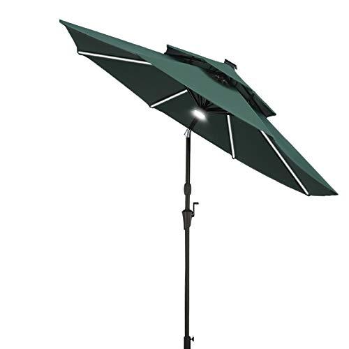 RINKMO 9ft Patio Umbrella With Solar Lights, Outdoor Umbrella Patio Table Umbrella, Made of Aluminum, Market Umbrella with LED Strip Lights and Windproof Top, Auto Tilt and Crank Lift for Pool, Garden