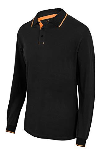 Velilla 105515 0/19 - NEGRO/NAR.FLOUR XL - Polo bicolor con raya manga larga Negro Talla XL