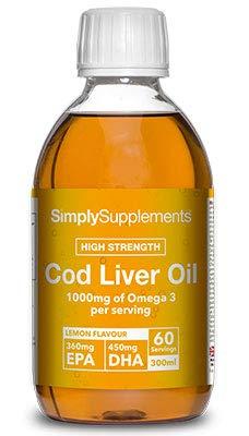 Aceite de hígado de bacalao líquido - Sabor natural a limón - Bote 300ml = 60 raciones - Alto en DHA y EPA - SimplySupplements