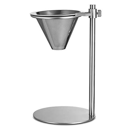Yissma Filter Cup, Edelstahl-Kaffeefilter, Konus Kaffee Mesh Double Layer Mesh Filter wiederverwendbar Kaffee Tropfer über mit Ständer Halter