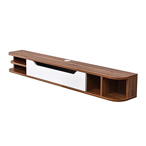 Mueble de TV de pared con estante flotante, estante de fondo para reproductor de DVD/Blu-ray de pared, decodificador de TV satelital, decodificador de cable/A / 150cm