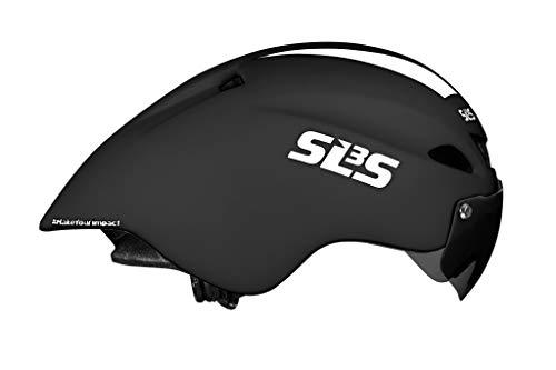 SLS3 Time Trial Aero Helmet (CSPC) | TT Triathlon Bike Helmet | Removable Magnetic Shield Visor | Time Trial | One Size - 21-23 Inches | Aero Road Helmet Black