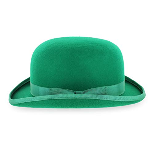 Belfry Mickey Irish Green Derby Hat with Feather and Liner (Green, Medium)