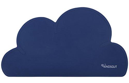 Kindsgut Set de table enfant en silicone étanche et antidérapant en forme de nuage, bleu roi