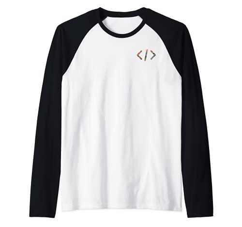 Coder gift, Software Computer Programmer simple small logo Camiseta Manga Raglan