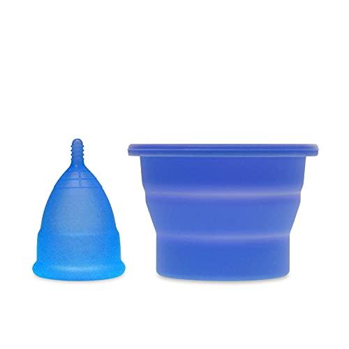 Anigan EvaCup (fabricado en Estados Unidos – FDA registrada) Copa menstrual + taza de esterilización plegable (pequeño, Aqua)