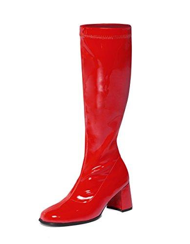 Rote kniehohe Stiefel – 60er 70er Jahre Mode Stiefel – Rot GoGo Boots – Größen 36 bis 11 UK (8 UK – EU 42)