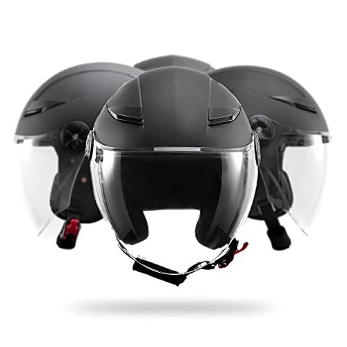 Casco Jet para scooter o moto, casco Demi Jet DF72, para hombre y mujer, unisex, visera larga, esférica, antiarañazos, antivaho, homologado Europa ECE 22 05, color negro mate, talla L