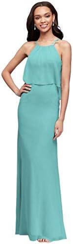 David s Bridal Flounced Crinkle Chiffon Sheath Bridesmaid Dress Style F19773 Spa 22 product image