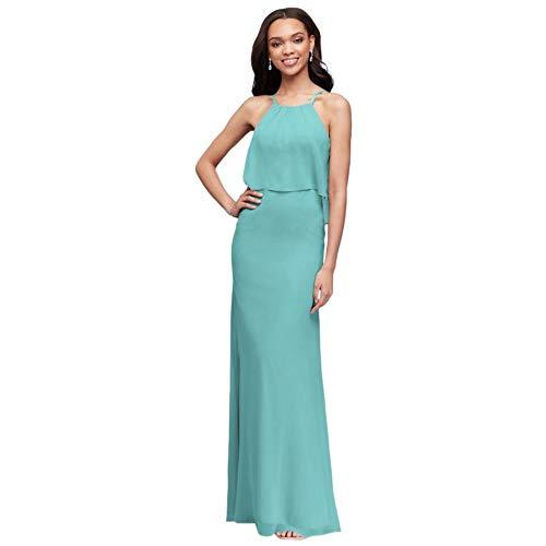 David's Bridal Flounced Crinkle Chiffon Sheath Bridesmaid Dress Style F19773, Spa, 22