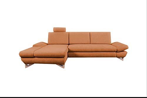 mb-moebel Ecksofa mit Schlaffunktion Eckcouch mit Bettkasten Sofa Couch L-Form Polsterecke Merida (Orange, Ecksofa Links)