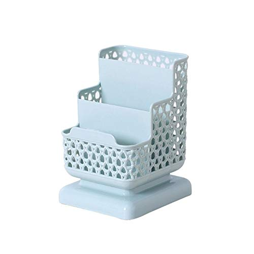 Stiftehalter aus Rattan, Kunststoff, multifunktional, hohl, für Schreibwaren, Federmäppchen (Farbe: Blau)