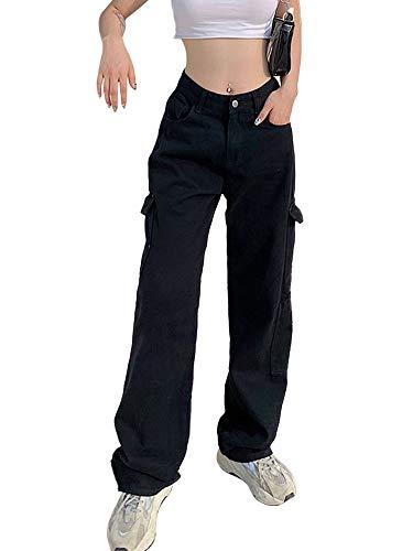 Pantalones vaqueros de cintura alta para mujer Y2K Casual Color sólido pierna ancha lápiz Denim Pantalones E-Girl Streetwear Jeans con bolsillos grandes