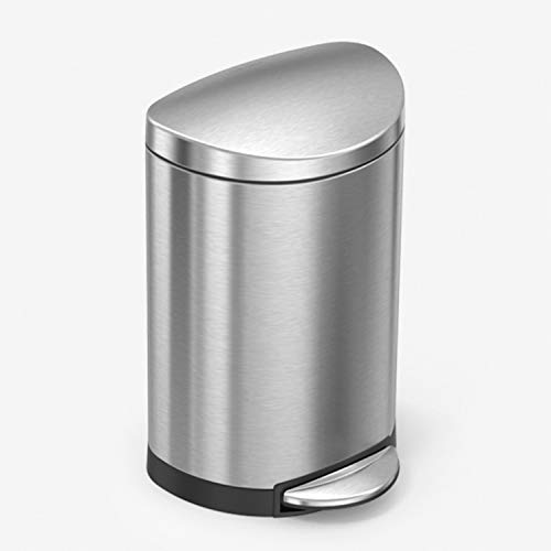 simplehuman 10 Liter / 2.6 Gallon Small Semi-Round Bathroom Step Trash Can, Brushed Stainless Steel
