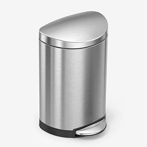 simplehuman, 6 Liter, halbrunder Treteimer, gebürsteter Stahl, 10 Jahre Garantie