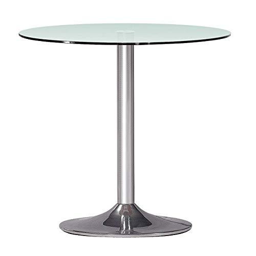 HABITMOBEL Mesa de Comedor Cocina cromada, Cristal 70 cms