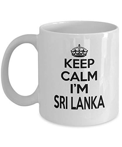 NA Taza de café Personalizada Regalo para Nieta Novia Keep Calm I 'm Sri Lanka Tazas únicas para él y Ella - En el Aniversario de Bodas Taza Blanca Mediana