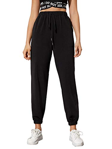 SOLY HUX Pantalones de chándal para mujer, cintura elástica, pantalones capris, pantalones deportivos para correr Negro Con Nudo XS