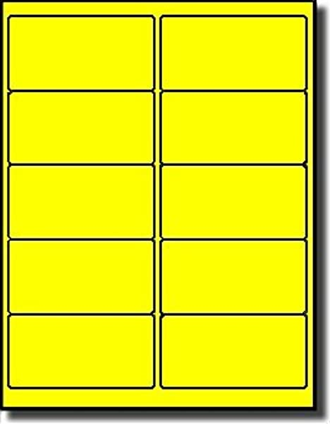 1 000 Label Outfitters Fluorescent Neon Yellow LASER ONLY Labels 4 X 2 100 Sheets