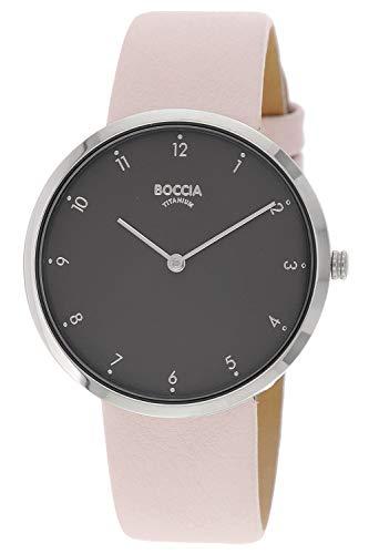 Boccia Damen Analog Quarz Uhr mit Leder Armband 3309-04
