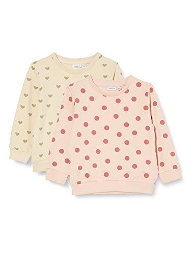 NAME IT Baby-Mädchen NBFTINNE 2P LS Light Sweat UNB Sweatshirt, Peach Whip, 86