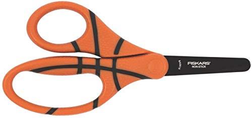 Fiskars Ciseaux enfant avec imprimé ballon de basket, + 6 ans, Longueur totale: 13 cm, Pour droitiers et gauchers, Lames en acier inoxydable/Poignées en plastique, Orange, 1023912