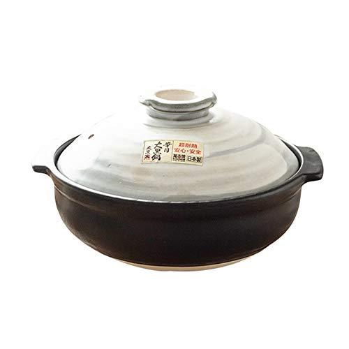CCSU Pot Japonais De Riz en Pierre De Donabe avec Le Couvercle,Double Artisanal Traditionnel Casserole en Céramique Pas-bâton Stockpot Dolsot Noir 2l