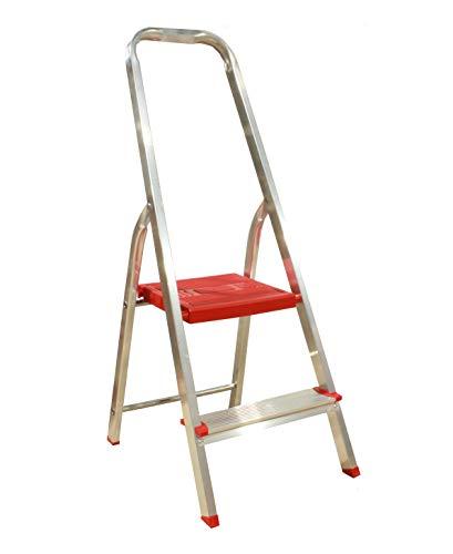 Escalera Plegable 2 peldaños Aluminio, Escalera de Tijera Resistente y Ligera, Antideslizante,...