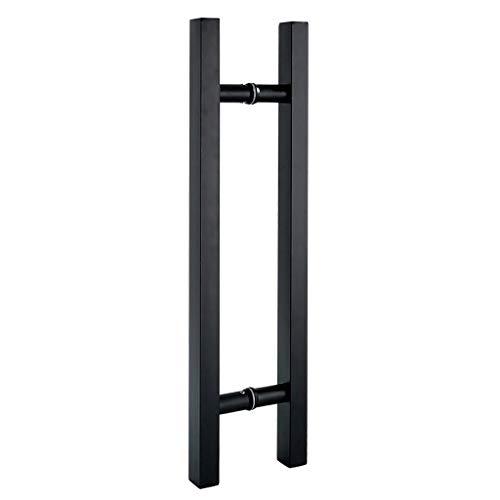 Schwarzer Glas Türgriff Dickes Edelstahl-Vierkantrohr Holztür Scheunentor Schiebetürgriff, 9 Größen (Size : 600×400mm)