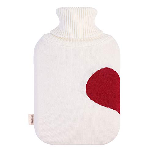 HomeTop Large 2 Liter Soft Knit Heart Pattern Hot Water Bottle Cover - ONLY Cover (2L, Cream White)