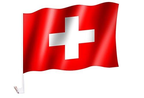 2 Stück/1 Paar Autoflagge/Autofahne Schweiz / Switzerland / Suisse - Fahne / Flagge für Auto 2x - car flag