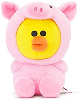 LINE FRIENDS Jungle Sitting Doll - Piggy Sally Character Plush 8 Inches, Pink