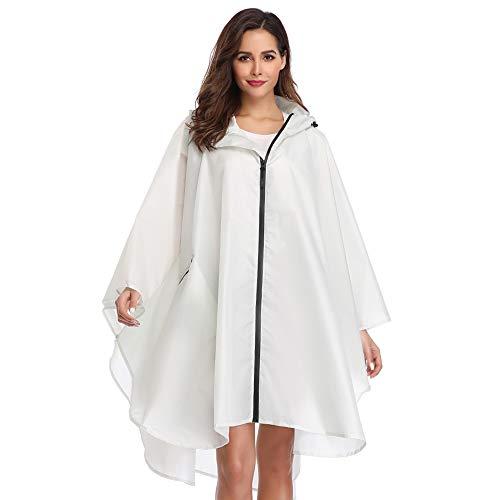 Summer Mae Regen Poncho Jacke Mantel für Erwachsene mit Kapuze wasserdicht mit Reißverschluss im Freien,Einheitsgröße,Weiß