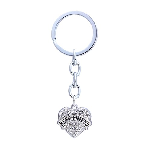 Strass & pailletten. Sleutelhanger verzilverd met Best Friend op hart kristal strass geschenk voor de beste vriendin